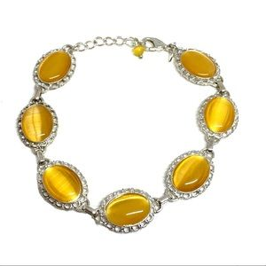 Vintage Signed Avon Bracelet Yellow Cabochons